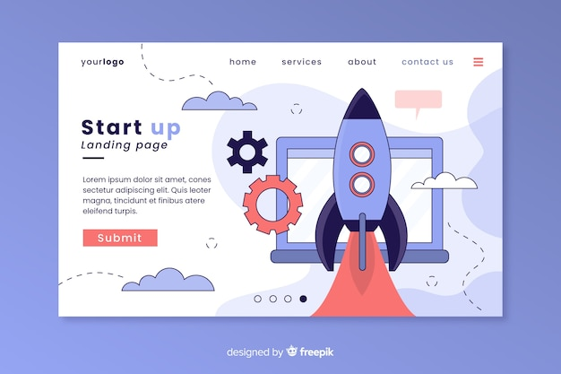 Start-up business landing page Free Vector