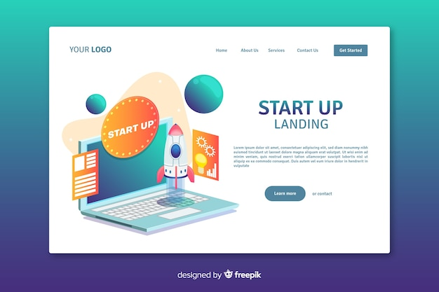 Start up company landing page design Free Vector