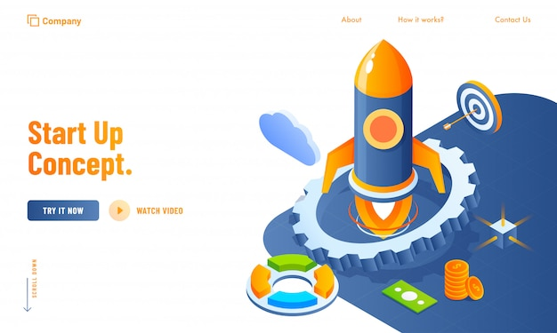 Start up concept website design with 3d business elements like as rocket, cogwheel, cloud and currency money Premium Vector