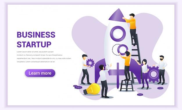 スタートアップコンセプトは、人々が一緒に働いて、新しいビジネスのスタートアップを立ち上げるためのロケットを作ることです。 Premiumベクター