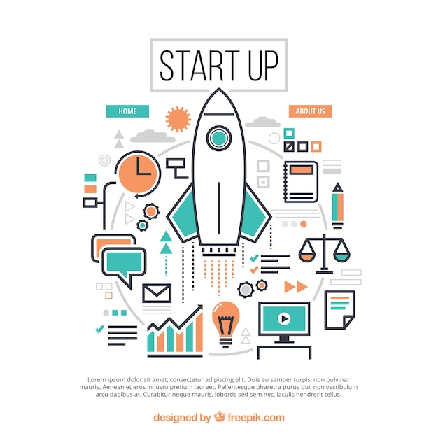 Start up concept with rocket and elements Free Vector