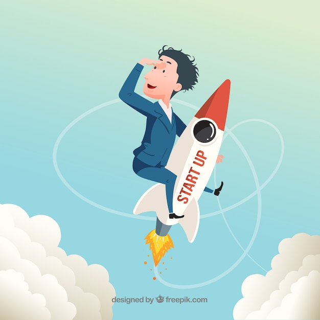 Start up concept with rocket and businessman Free Vector