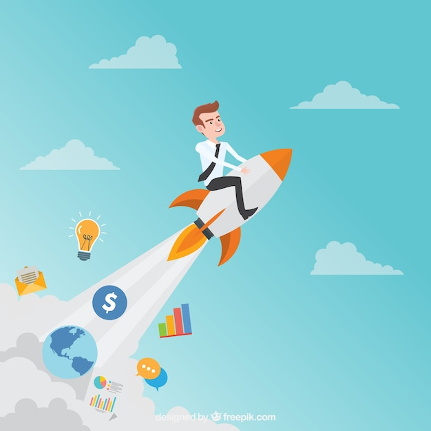 Start up concept with rocket in sky Free Vector