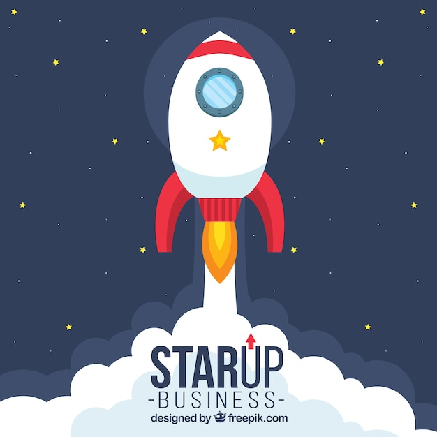 Start up concept with rocket Free Vector