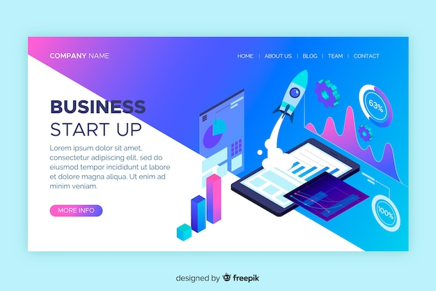 Start up digital landing page Free Vector