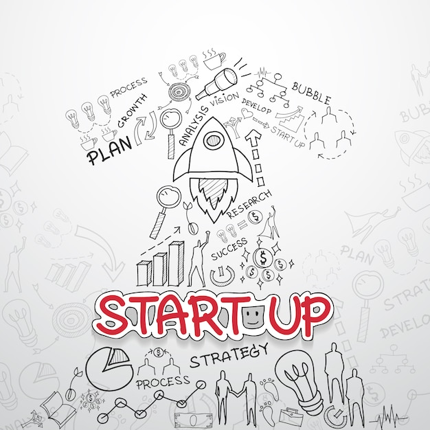 Start up elements collection Free Vector