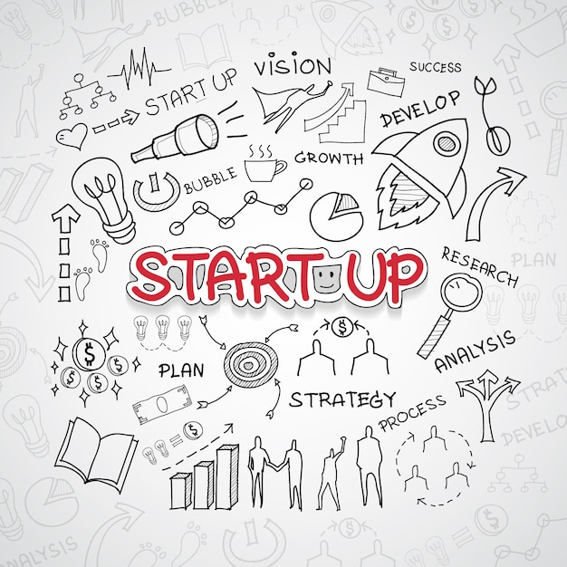 Start up illustration Free Vector