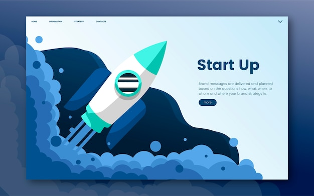 Start up informational website graphic Free Vector