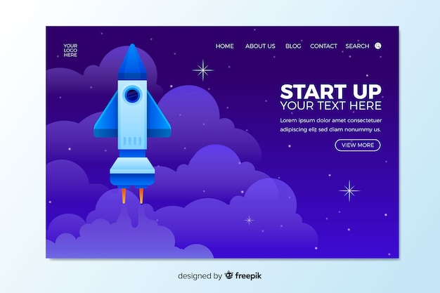 Start up landing page template Free Vector