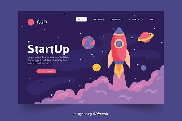 Start up landing page web template Free Vector