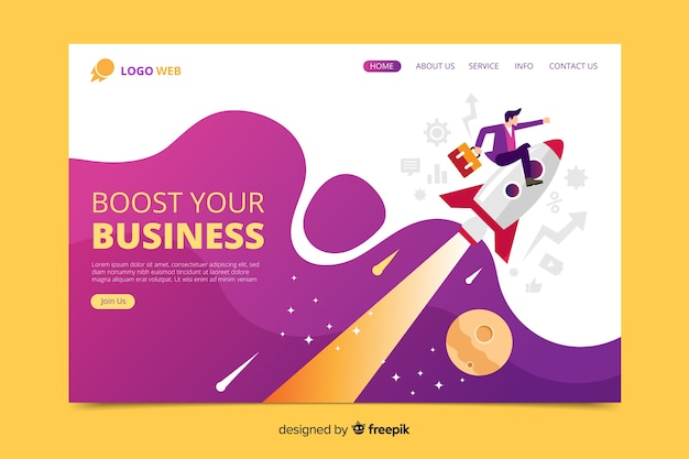 Start up landing page web template Premium Vector