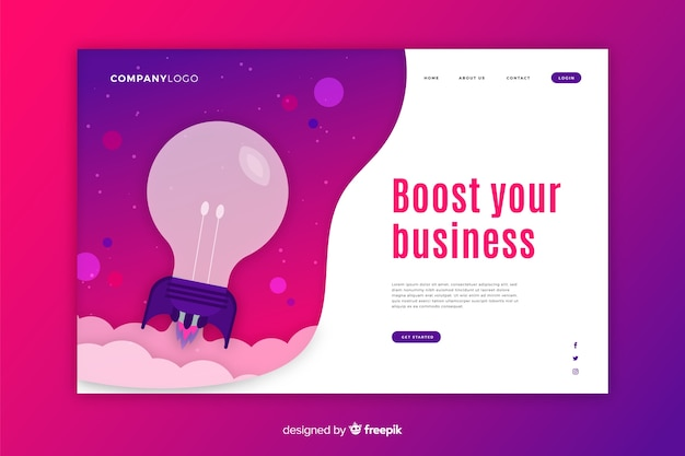 Start-up landing page with bulb and purple background Free Vector