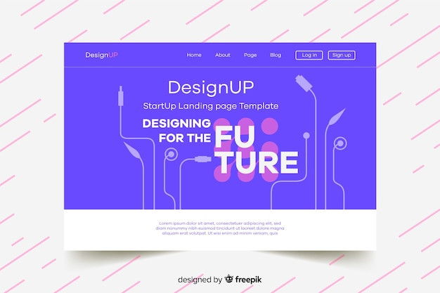 Start-up landing page with circuits Free Vector
