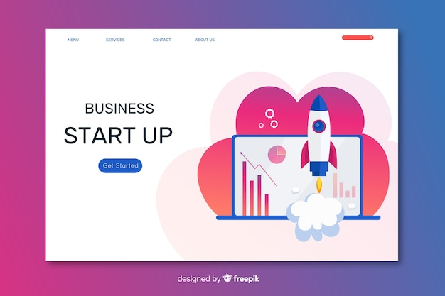 Start up landing page with cloud and laptop Free Vector