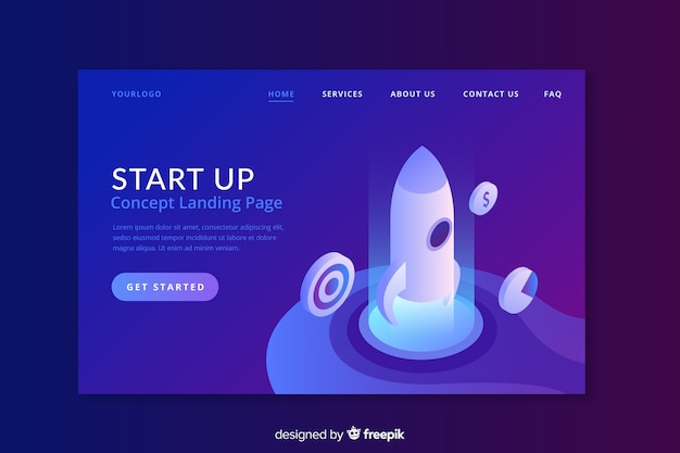 Start up landing page with flat design Free Vector