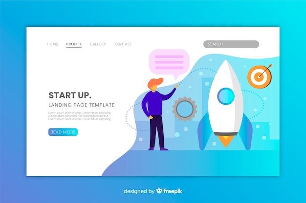 Start up landing page with gradient colors Free Vector