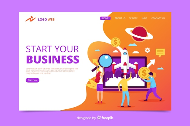 Start up landing page with information Free Vector