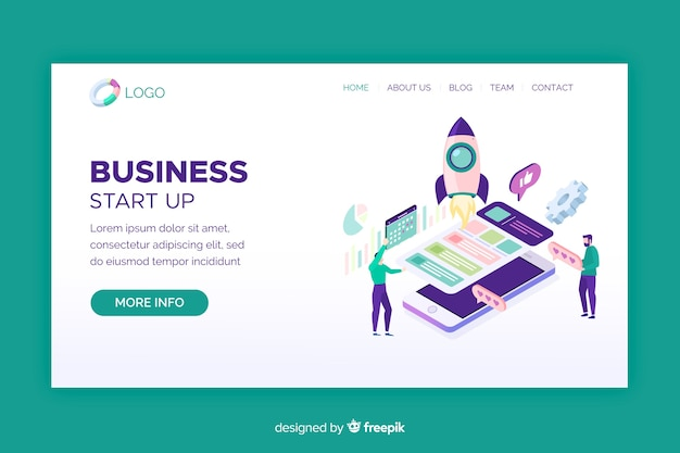 Start-up landing page with isometric phone screens Free Vector