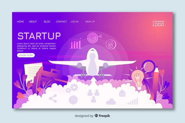 Start-up landing page with landing plane Free Vector