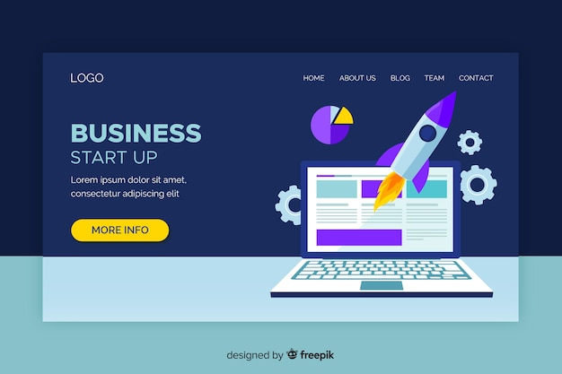 Start-up landing page with laptop and rocket Free Vector