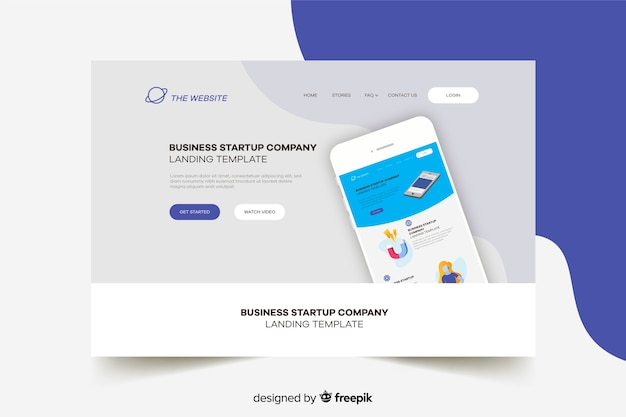 Start-up landing page with phone and grey background Free Vector