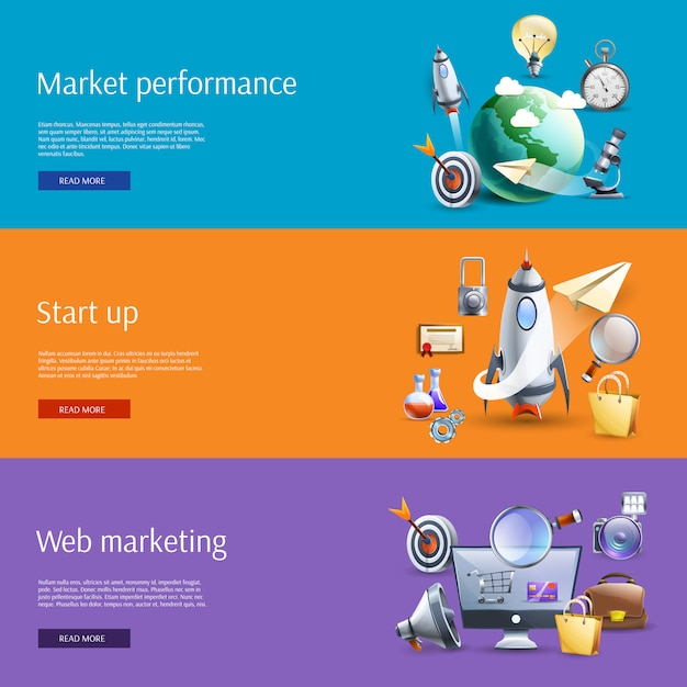 Start up marketing flat banners set Free Vector
