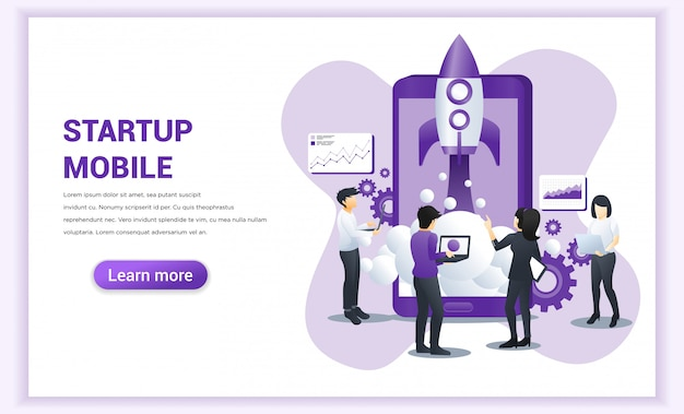 Start up project concept for mobile development with people working on rocket launch Premium Vector