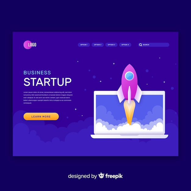 Start up project dark landing page Free Vector