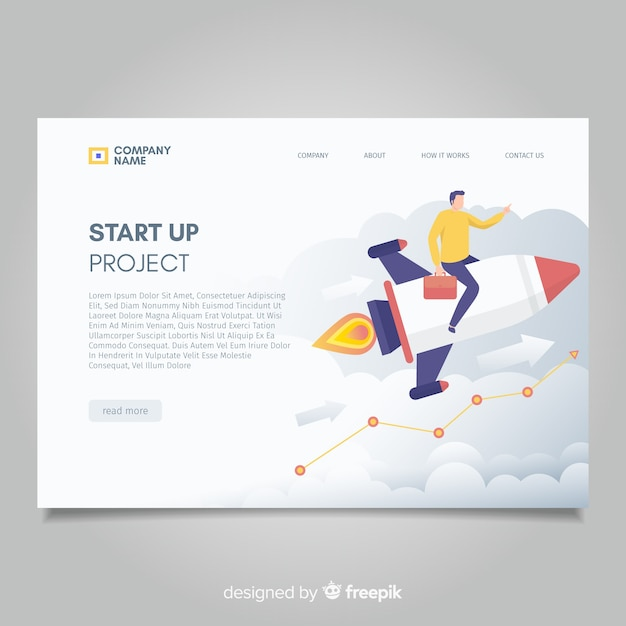 Start up project landing page Free Vector
