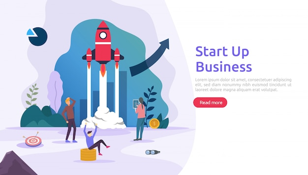 Start up service or new product idea launch concept. project business with rocket tiny people character. template for web landing page, banner, presentation, social, print media. illustration Premium Vector