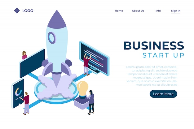 Start-up using spaceship symbols, investment growth in online-based companies, teamwork management isometric style Premium Vector