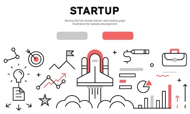 Start up web banner Premium Vector