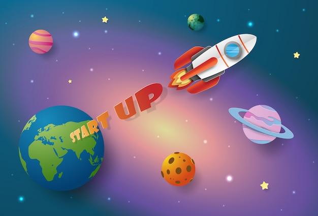 Бизнес-концепция start-up, запуск ракеты в космос Premium векторы