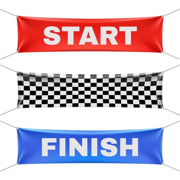 Starting finishing and checkered vinyl banners Premium Vector