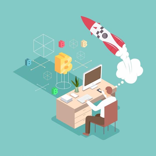 Запуск 3d плоский изометрические бизнес концепции иллюстрации. человек создает новый проект на своем рабочем месте с компьютером, ракетой и криптовалютой. Premium векторы
