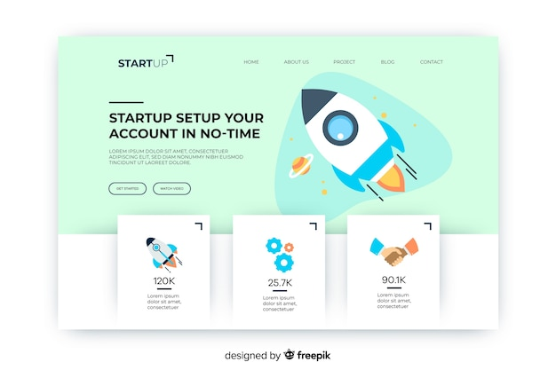 Startup account in no-time landing page Free Vector