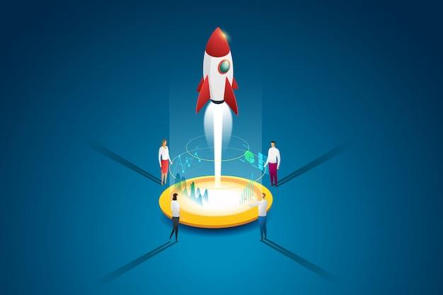 スタートアップビジネスグループの人々は、計画と戦略を通じてロケットとアイデアを打ち出します。フラット等尺性の概念。図 Premiumベクター