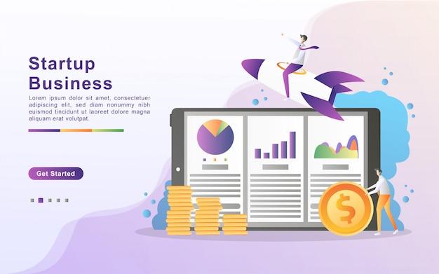 スタートアップビジネスイラストコンセプト。ビジネスパートナーシップの概念、人分析データグラフ、進行状況の監視。ランディングページのフラットなデザイン Premiumベクター