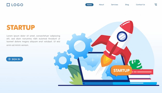Startup business landing page template Premium Vector