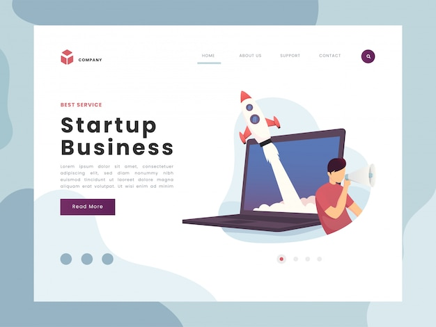 Startup business landing page Premium Vector