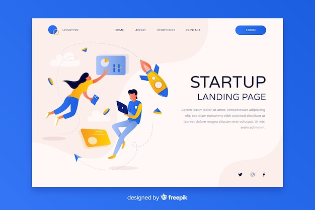 Startup business landing page Free Vector