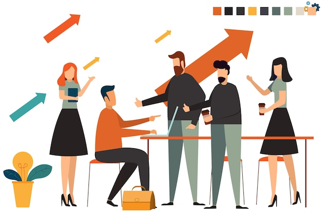 Startup business people group working everyday job at coworking office space. Premium Vector