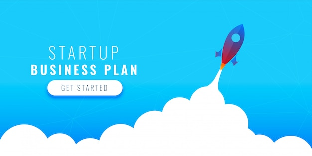 Startup business plan concept design with flying rocket Free Vector