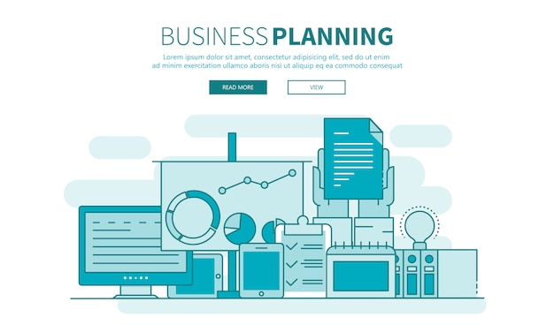 Startup, business planning and results outline website banner Premium Vector