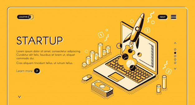 Startup business project illustration in thine line isometric design  Free Vector