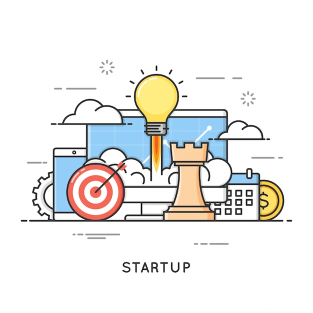 Startup, business project launch, new ideas. flat line art style Premium Vector