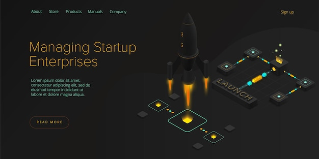 Startup coaching and mentorship concept in isometric illustration. Premium Vector