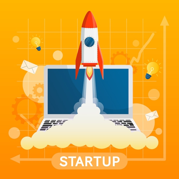 Startup concept with element vector on yellow background Premium Vector