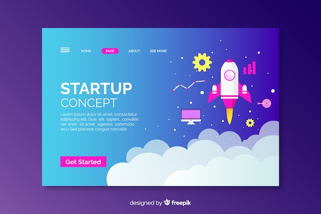 Startup concept with rocket landing page Free Vector