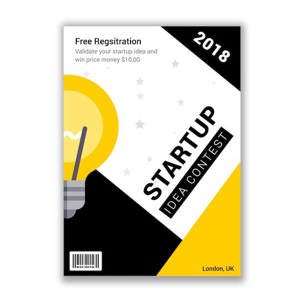 Startup contest event invitation flyer Premium Vector
